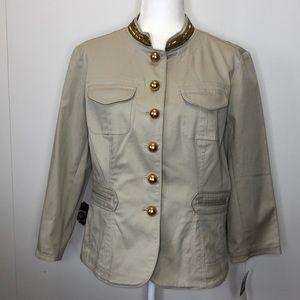 Michael Kors khaki beaded military jacket blazer